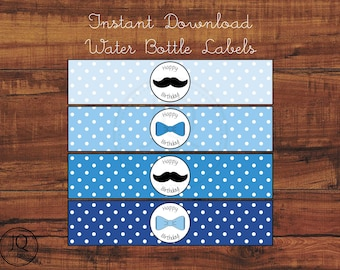Printable Mustache and Bow Ties Themed Birthday, Happy Birthday Water Bottle Labels, Little Man, Dapper Man, Printable Water Labels
