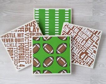 Football Coasters Football Tile Coasters Football Print Sports Print Sports Decor Gift for Coach Football Gift Football Player Dad Gift - 4