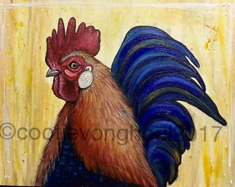 Rooster art print - kitchen decor- home decor-chicken