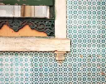 "Lisbon Photography, Teal Blue Wall Art, Lisbon Portugal Travel Print, Tile Pattern, Architecture Window Print ""Lisbon Tiles Two"""