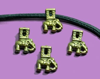 4 beads for cord 05mm elephant color bronze