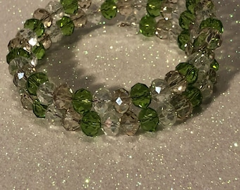 Crystal Slinky Bracelet (green, champagne and clear)