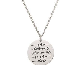"Stainless Steel ""She Believed She Could So She Did"" Inspirational Pendant"