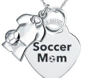 Soccer Mom Necklace/Pendant 925 Sterling Silver, Personalized, Heart Shaped PEN706