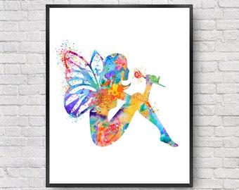Girl nursery art print, baby nursery print, fairy art, baby girl decor, baby shower, kids wall art, fairy print, children print - 61