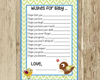 SALE Baby Blue Green Chevron Birdie Bird Shower Game Well Wishes Advice Cards ~ Instant Download Printable PDF ~ Baby Bird Design Sulugifts