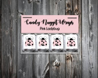 60 Pink Ladybug Shower Candy Wraps Favors. Includes printing.