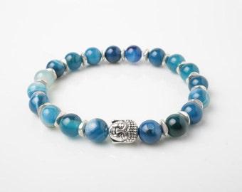 Blue agate bracelet, buddha bracelet, blue stone bracelet, men bracelet, blue agate jewelry, Buddha jewelry, protection bracelet, mens gift