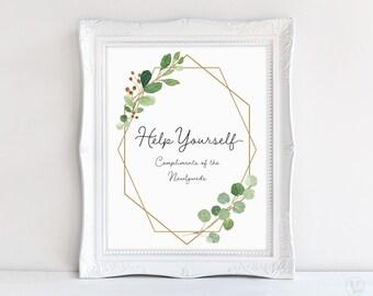 Help Yourself Wedding Reception Sign, Printable Wedding Bathroom Sign, Wedding Favors Sign, 8x10, Geometric Greenery, VW21