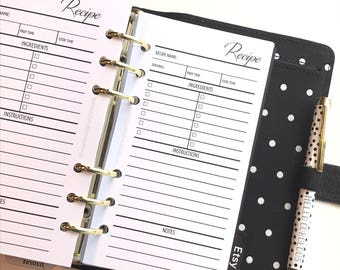Recipe Planner Inserts for Personal Size Planners