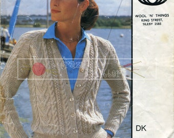 Lady's Cable Jacket DK 34-44in Sirdar 6022 Vintage Knitting Pattern PDF instant download
