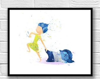 Inside Out Watercolor Print Joy Sadness Disney Art Movie Poster Watercolor Painting Wall Art Home Decor Kids Room Nursery Gift Idea - 519