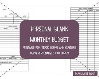 PRINTABLE Personal Monthly Budget- Blank Categories