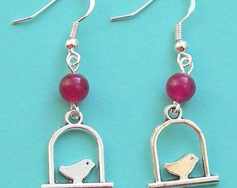 Bird Earrings with Rose Jade and Sterling Silver Hooks LB15