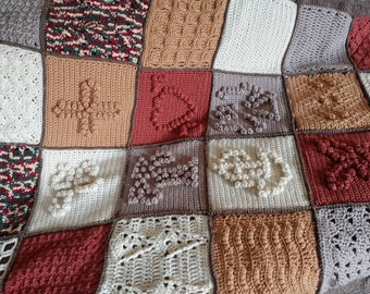 Hand Crocheted Popcorn Panels Afghan 43x56