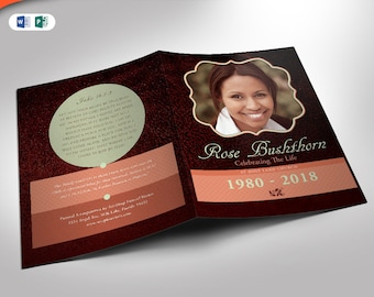 Leather Funeral Program Publisher and Word Template (8 Pages) 5.5x8.5and 8.5x11