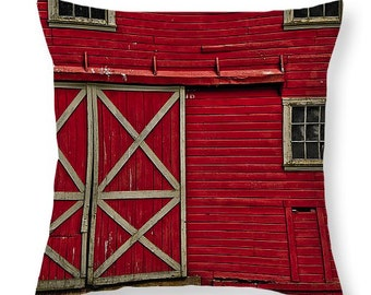 OLD RED BARN novelty pillow - lumbar or square sizes, red accent cushion, scatter cushions, pillow cover, rural accent pillow, cushion cover