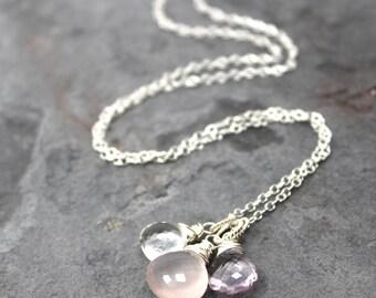 Pink Gemstone Necklace Amethyst Rose Quartz Trio Briolettes Sterling Silver Pendant Necklace