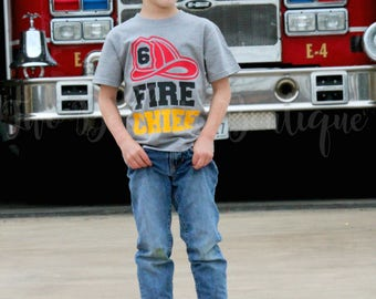 Firefighter Birthday shirt - Fireman Birthday Shirt - Fire Truck Birthday - Fire Truck Birthday outfit - Firefighter Party - Firefighter
