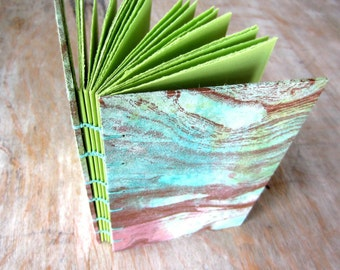 Travel Journal Pink Blue Green Gold, unlined green pages, Ready To Ship