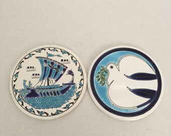 Ceramic Greek Coasters; Nautical Ship; Dove With Olive Branch; Raised Hand Made Painted Design