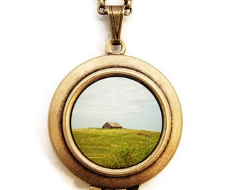 RESERVED for Florian -The Old Barn - Photo Locket Necklace - Rustic Landscape Country Barn Locket