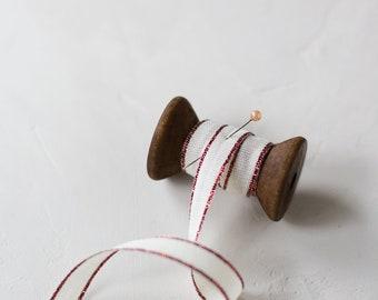 """Natural + Copper Metallic Edge Drittofilo Cotton Ribbon (with Wooden Spool) - 5 yards - 3/8"""" wide"""