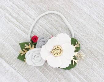 Felt Flower Headband, Flower Headband, Felt Flower Clip, Floral Headbands, Golden Flower Crown, Flower Girl Hair Clip, Baby Girl Headband