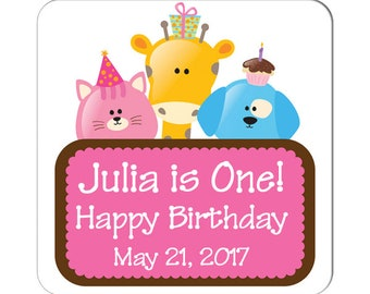Personalized Happy Birthday Labels 1st Birthday Party Animals 2 Inch Square Glossy Labels -  Children Party Favors, Kids Special Events