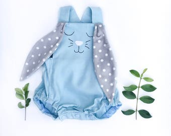 Cuddle Easter Bunny Romper, baby boys, linen, babys first Easter