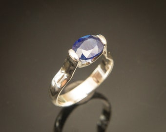Natural Blue Sapphire Ring Contemporary Ring Blue Sapphire Engagement Ring Handmade Sapphire Ring Half Bezel Set Sapphire Ring