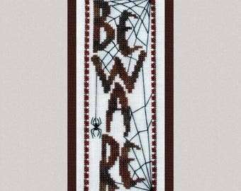 """Halloween Cross Stitch Instant Download Pattern """"Beware"""" Counted Embroidery. X Stitch Spider Web Design. DIY Home Decor."""