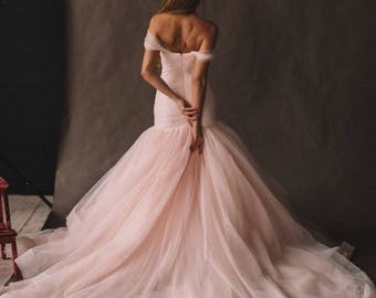 Unique Pink Wedding Dress With Ombre Skirt, Off The Shoulder. Colored Disney Mermaid Wedding Gown 2018 by Boom Blush.