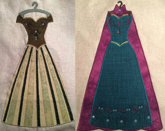 Disney Princess Elsa & Princess Anna Coronation Dress Applique Pattern - Inspired by Disney's Frozen