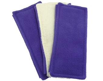 3 Purple Swiffer Pads, FLEECE & TERRY Double Sided Reusable Swiffer Pads, EcoGreen Pads, washable Swiffer Sweeper pads, mop and dust in one
