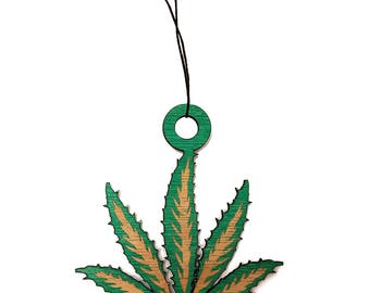 Detailed Pot Leaf Laser Engraved Wooden Rear View Mirror Charm Dangler