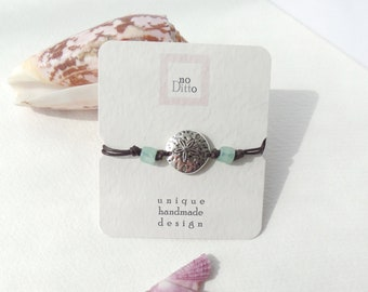 Silver Sand Dollar Bracelet, Adjustable, Dark Brown Cotton Cord, Casual, Beach, Aqua  Beaded Cord Bracelet, BFF gifts, Gifts For Her
