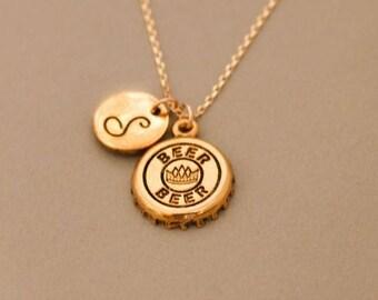 Beer Bottle Cap Necklace gold ,beer cap necklace,bottle cap necklace,beer cap charm,bottle cap charm,beer lover gifts,bottle cap jewelry