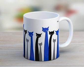 Gift for women, ceramic mug, tea cup, cat mug, abstract mug, gift for her, cat lover gift, tea cup, the office mug, coffee mug, cat dad