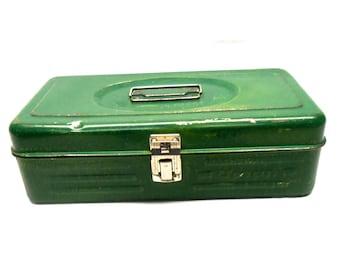 Retro Green Union Tackle Box Tool Box Secrets Keeper Box Metal Storage Box Fishing Box Private Stuff Security Steel Storage Box