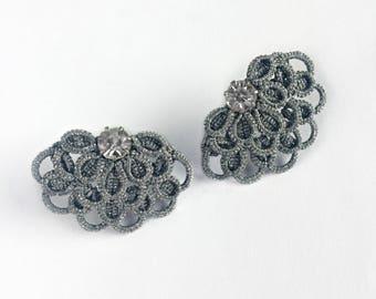 Silver Stud Earrings, Tatting earrings, Tatted jewelry, Lace Ear Studs, Post Earrings, Elegant ear jacket, Ear cuff,  Trending Earrings