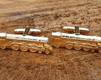 Steam Train Gold Plated Cufflinks UK Handmade Gift