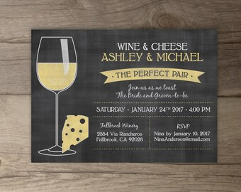 Perfect Pair Invitations • Chalkboard Invites  • Engagement Party • Wine and Cheese •  • printable