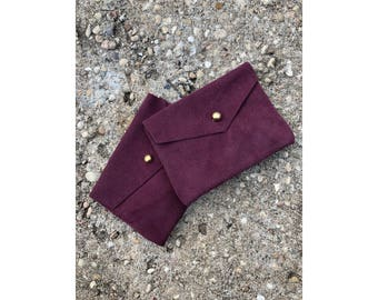 SALE • Limited Edition CARD WALLET Purple Suede • Business Card Holder • Credit Card Case