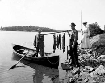Morning Catch Adirondacks 1900's Photo