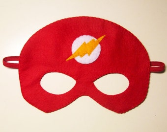 Flash Superhero felt mask (3 years - adult size) - Red White Yellow - superman party costume soft fun Dress up play Photo prop accessory
