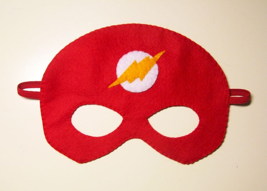 Flash superhero felt mask 3 years adult size red white - Masque superman ...