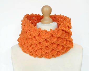 Orange Cowl, Crochet Crocodile Stitch Neck Warmer, Ladies Scale Cowl, Scale Scarf,