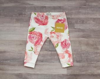 Baby Leggings / Baby Girl Leggings / Pink Floral Baby / Organic Cotton Leggings / Baby Girl Gift / Pink Leggings / Pink Peonies baby /