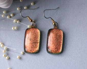 Dangle Earrings Drop Copper Shimmer Dichroic Glass E-0144, GetGlassy